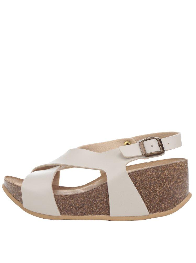 Krémové dámské sandály na korkové platformě OJJU