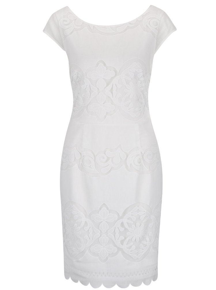Rochie alb fildeș VILA Bellina cu decolteu rotund