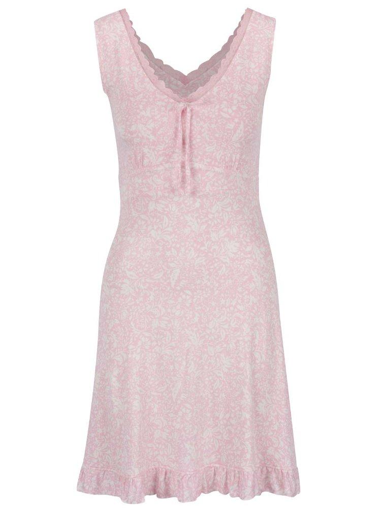 Cămașă de noapte roz deschis M&Co cu model și detalii din dantelă