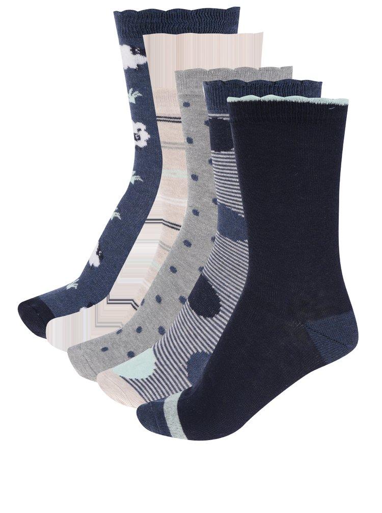 Sada pěti párů dámských ponožek v modré, šedé a béžové barvě M&Co