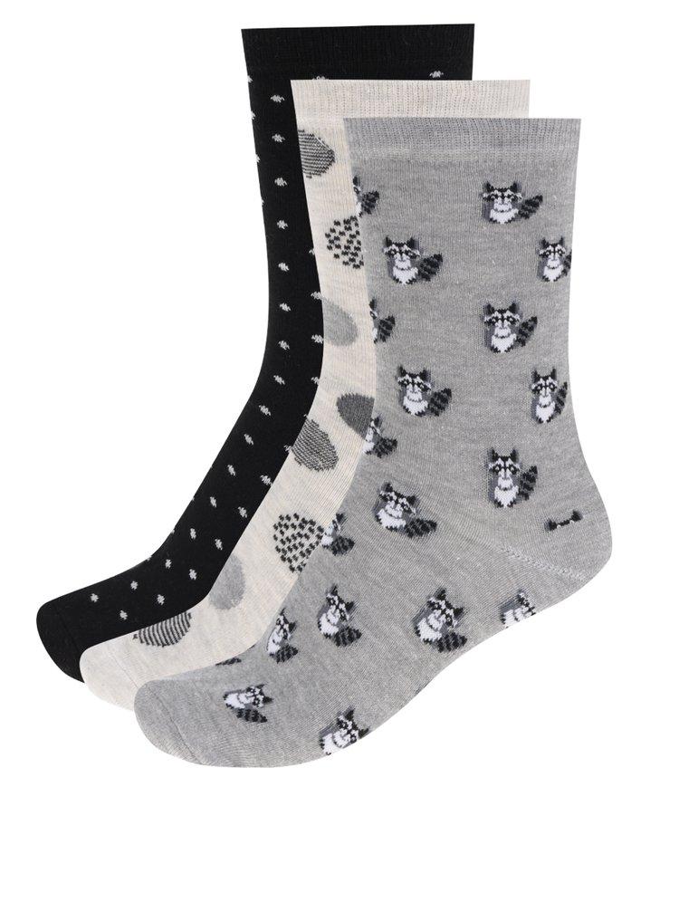 Sada tří párů dámských vzorovaných ponožek v černé a šedé barvě M&Co