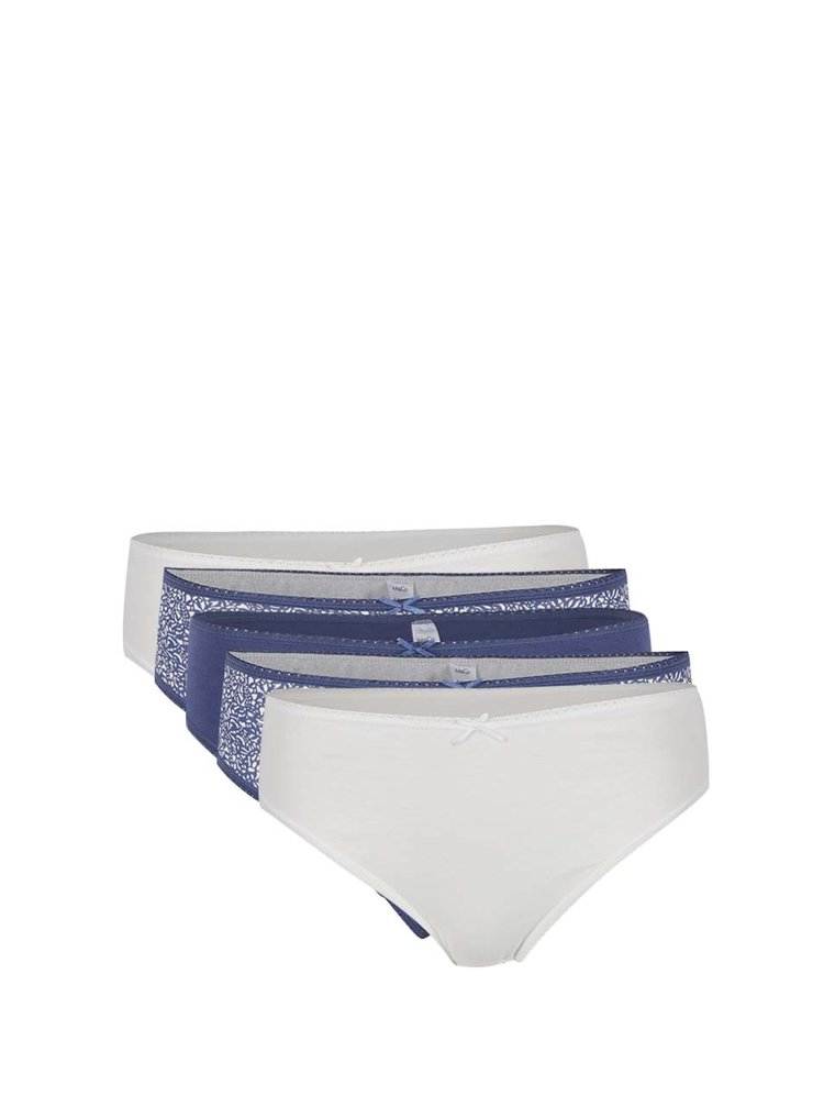 Set de 5 chiloți crem & albastru M&Co din bumbac cu model