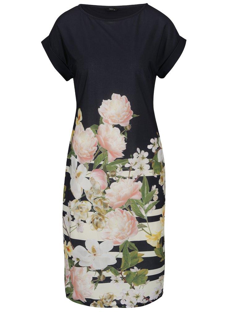 Tmavě modré šaty s květovaným potiskem M&Co