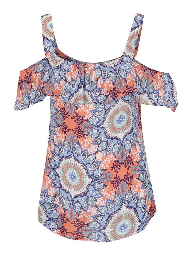 Top albastru & portocaliu M&Co cu model