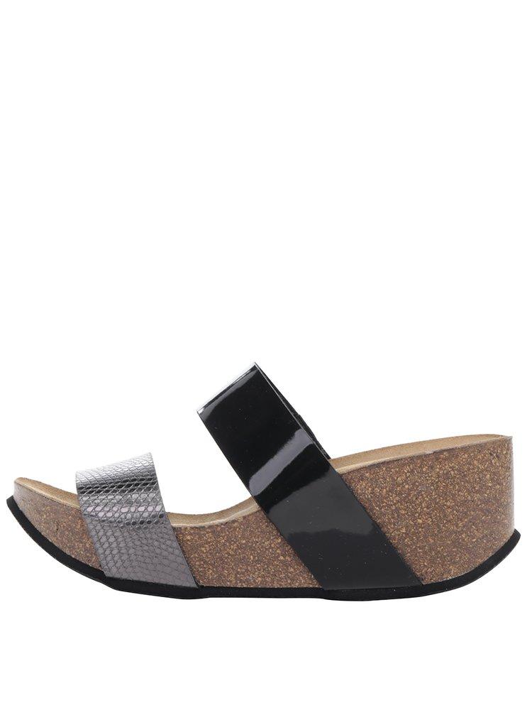 Papuci gri&negru OJJU cu platformă