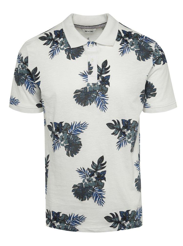 Modro-bílé vzorované polo triko ONLY & SONS Tymon