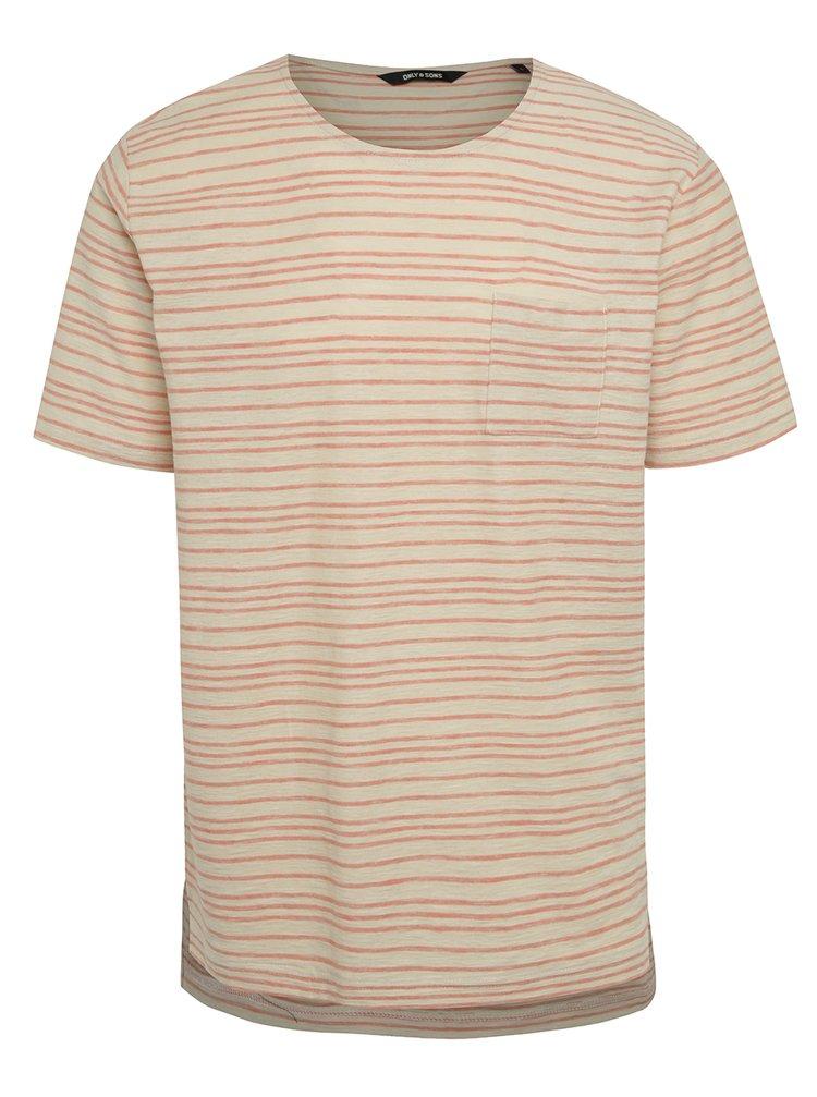 Červeno-béžové pruhované triko ONLY & SONS Sean