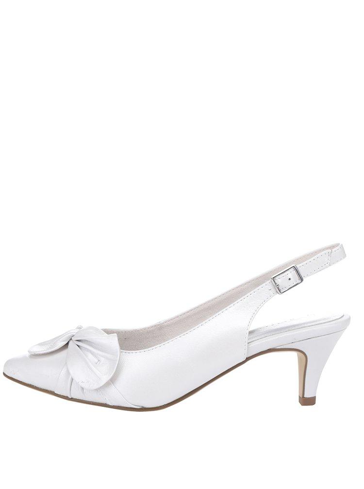 Pantofi slingback albi Tamaris din piele cu toc