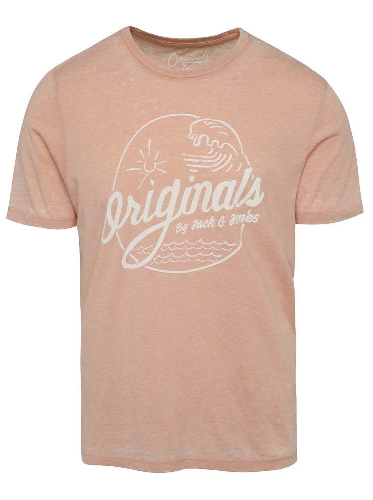 Světle růžové žíhané triko s potiskem Jack & Jones Hero