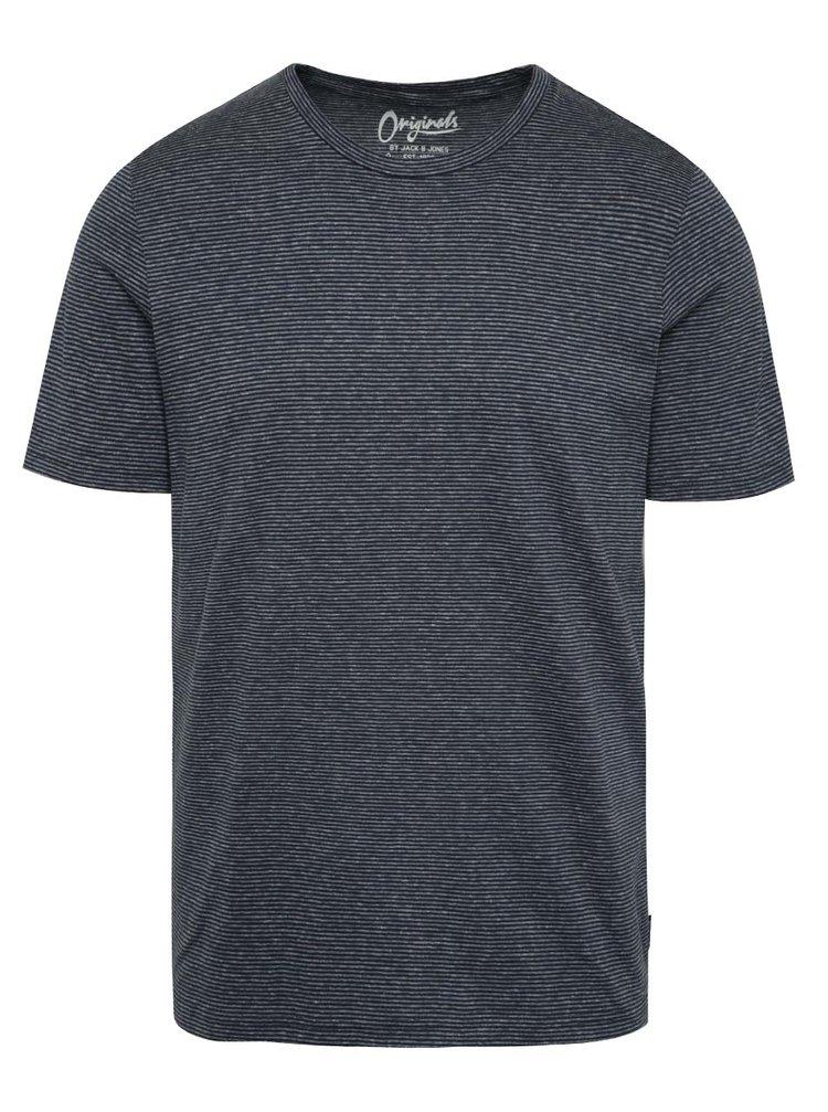 Tmavě modré žíhané pruhované triko Jack & Jones True