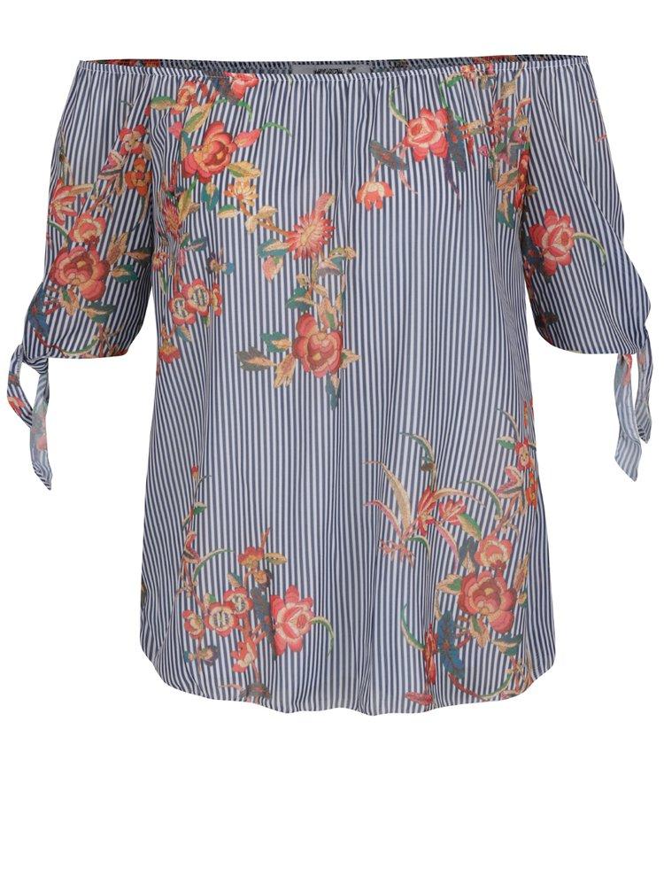 Bluză albastru închis Haily's Envy cu umerii goi, model floral și model în dungi