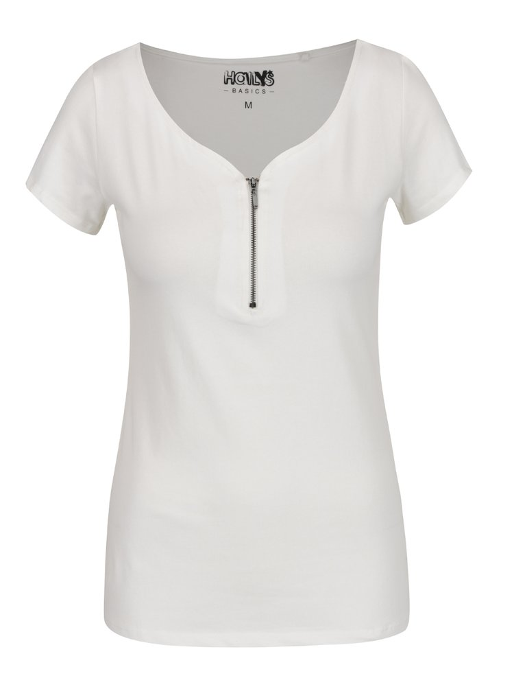 Tricou alb Haily's Pia cu decolteu en-coeur și fermoar