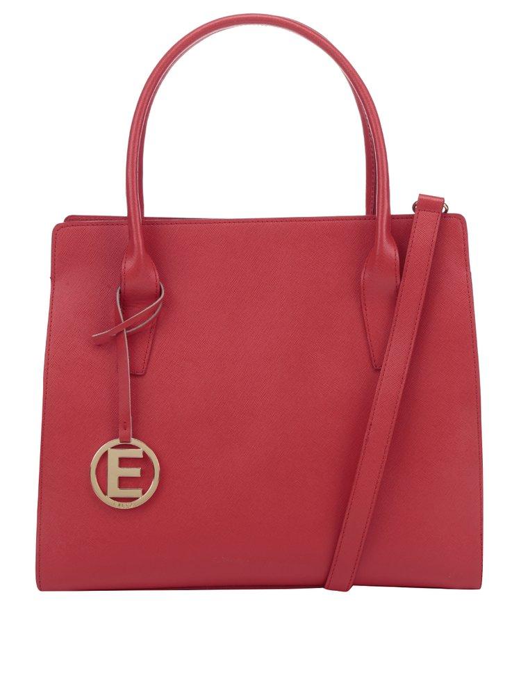 Červená kožená kabelka s príveskom v zlatej farbe Elega Nate