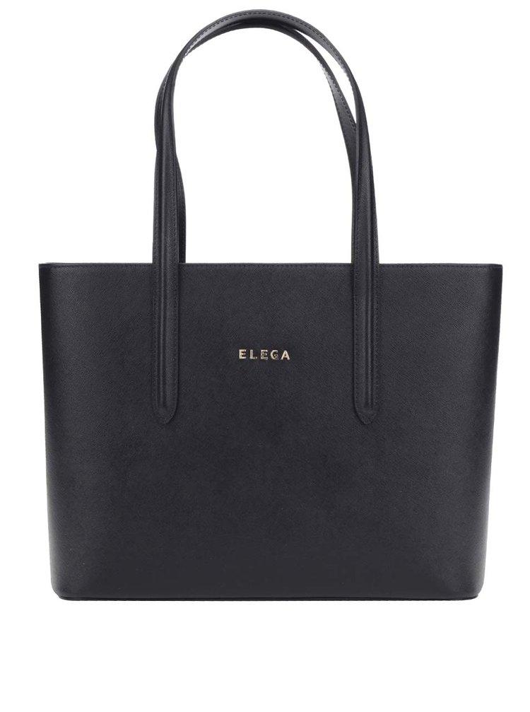 Čierna kožená veľká kabelka Elega Simone