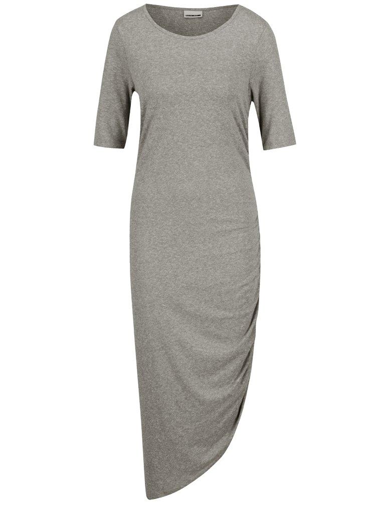 Šedozelené asymetrické žíhané šaty s řasením na boku Noisy May Ola