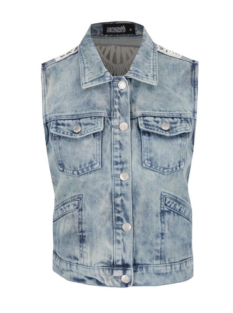 Modrá džínová vesta s krajkovými zády Haily's Kailey