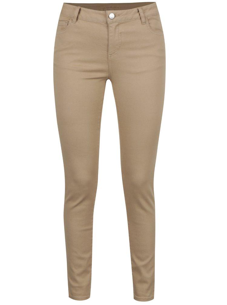 Béžové slim fit zkrácené kalhoty VILA Commit