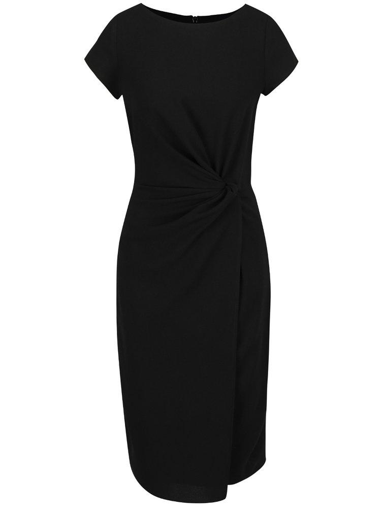 Černé midišaty s překládanou sukní Dorothy Perkins