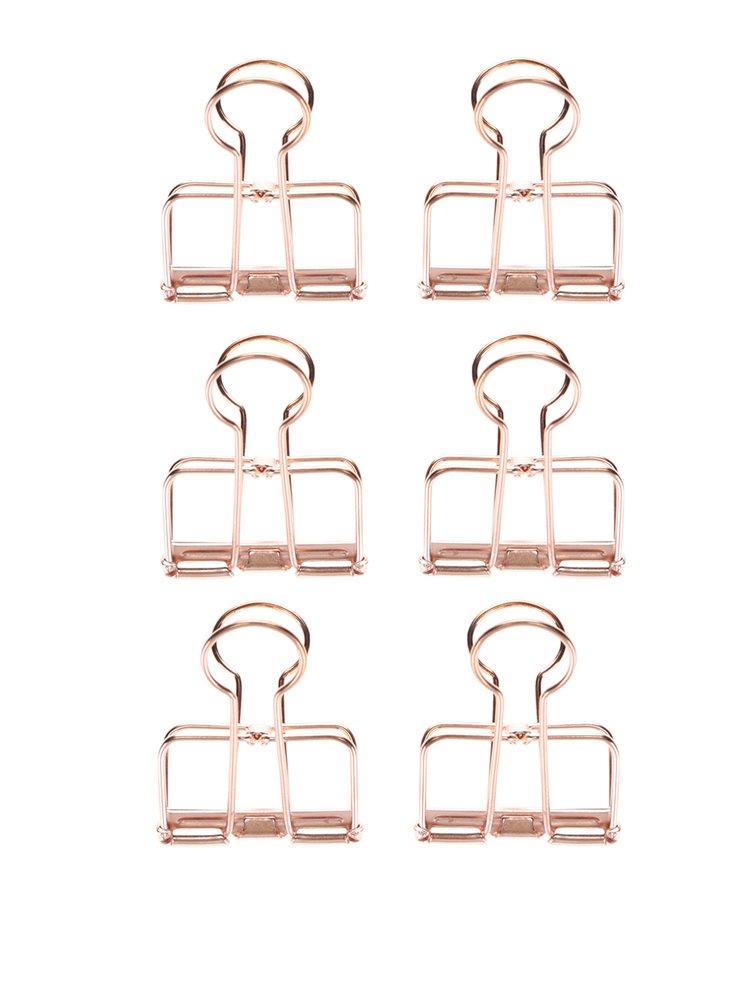 Sada šesti klipsů v růžovozlaté barvě Kikkerland