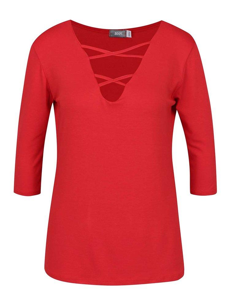 Bluză roșie ZOOT cu decolteu V cu șiret