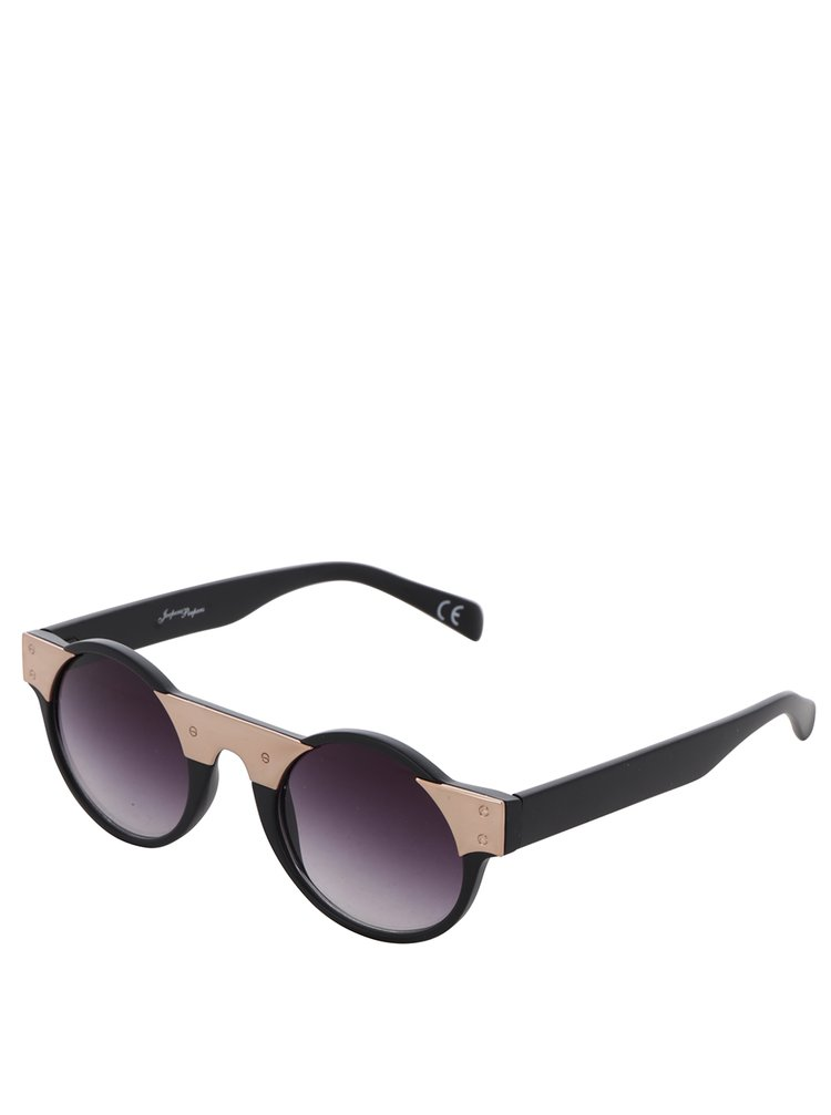 Černé kulaté brýle s designovým prvkem ve zlaté barvě Jeepers Peepers