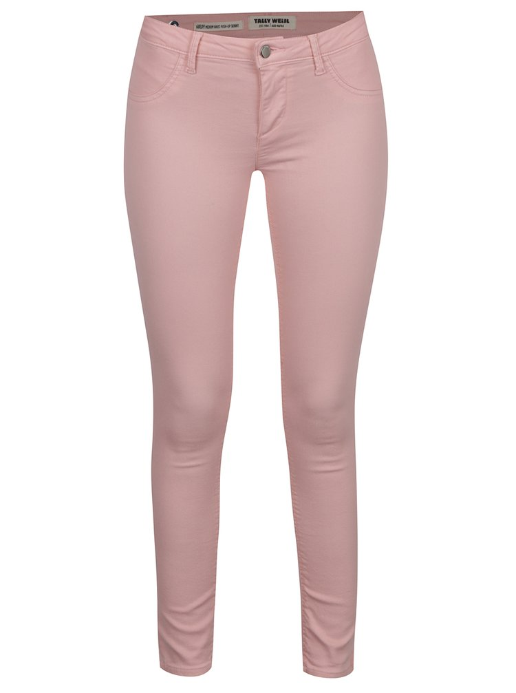 Světle růžové push up skinny džíny TALLY WEiJL