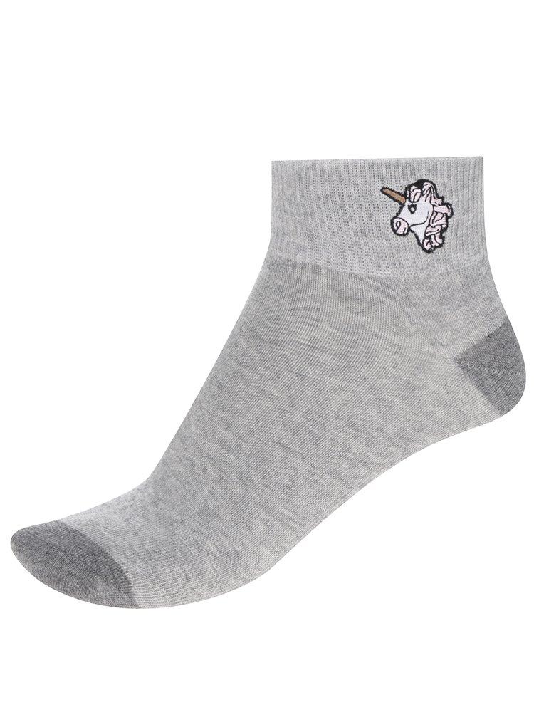 Šedé kotníkové ponožky s motivem jednorožce TALLY WEiJL