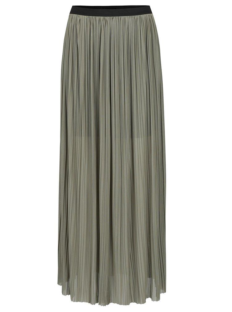 Khaki plisovaná maxi sukně TALLY WEiJL