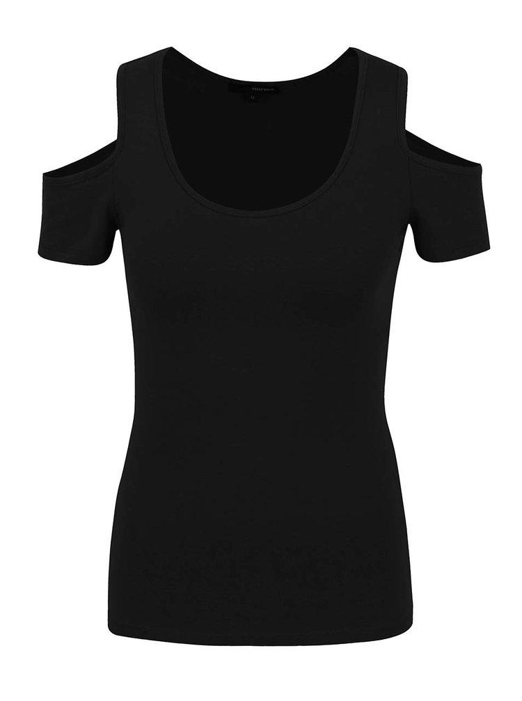 Černé tričko s průstřihy na ramenou TALLY WEiJL