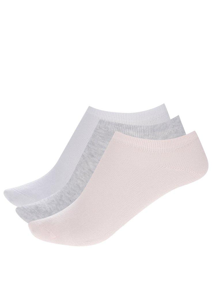 Sada  tří holčičích kotníkových ponožek v růžové, bílé a šedé barvě name it Jessica