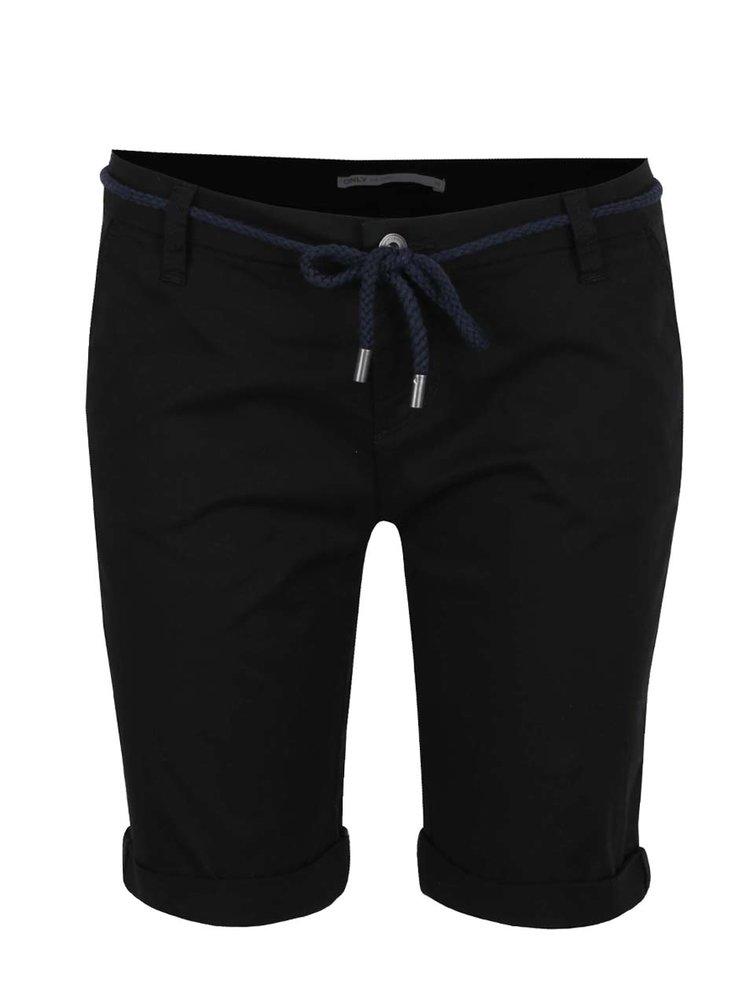 Pantaloni negri ONLY Paris cu snur in talie