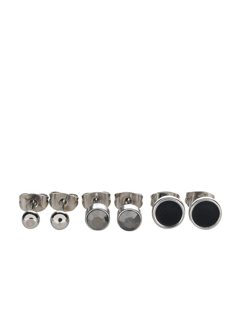 Sada tří párů naušnic ve stříbrné barvě Pieces Malle