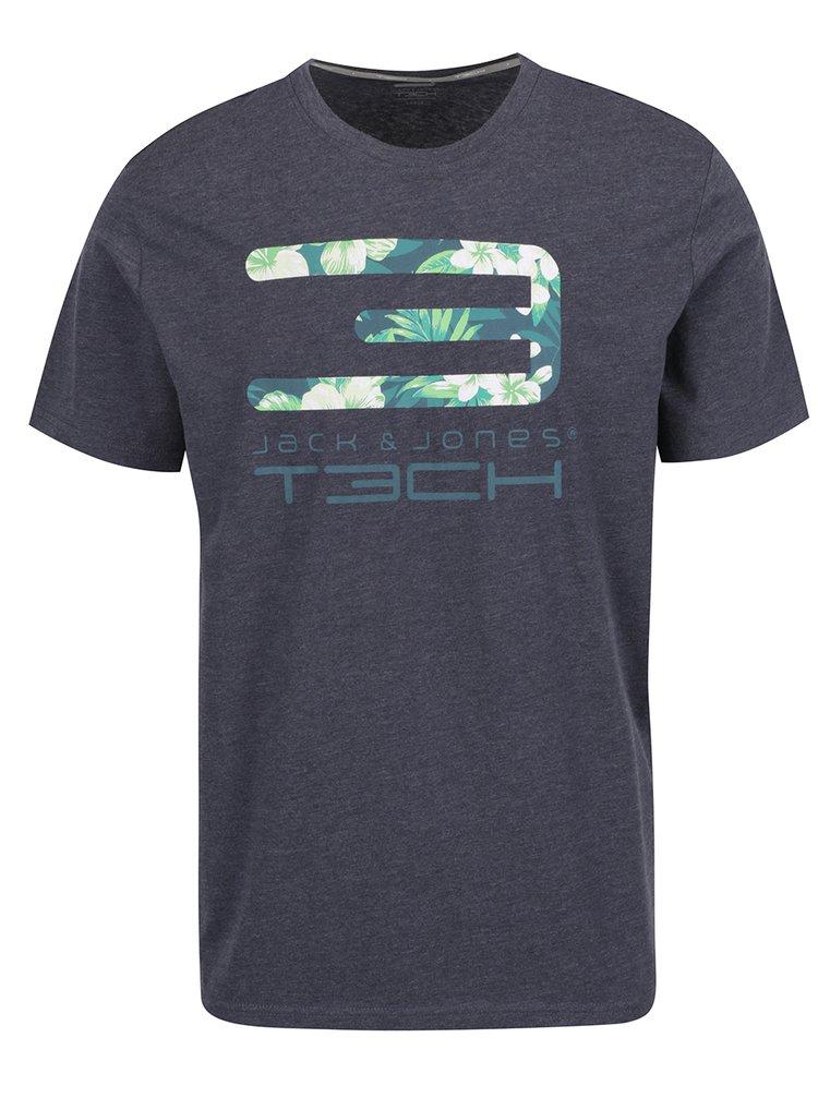 Šedé žíhané triko s potiskem Jack & Jones Tropic