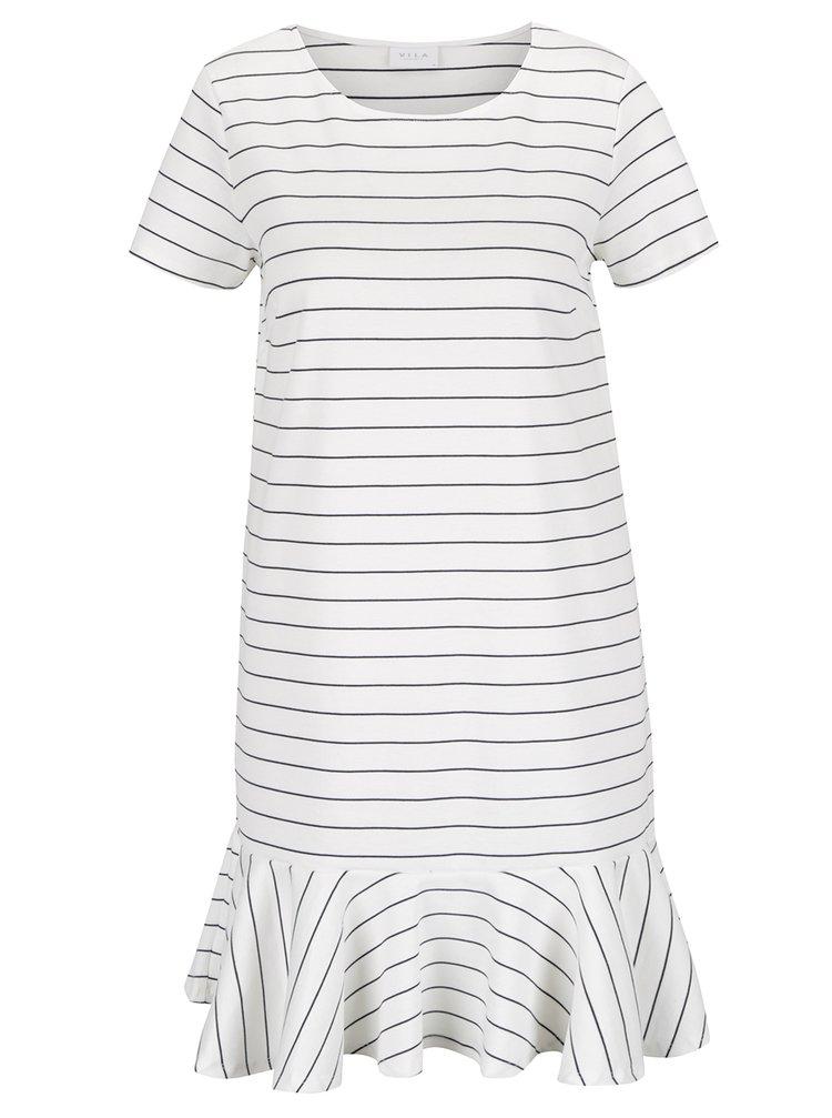 Krémové volné pruhované šaty s volánem VILA Ruffle Low