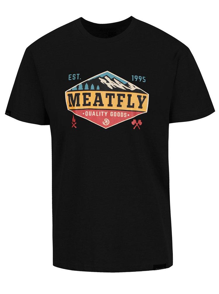 Tricou negru cu print MEATFLY Bugler pentru bărbați