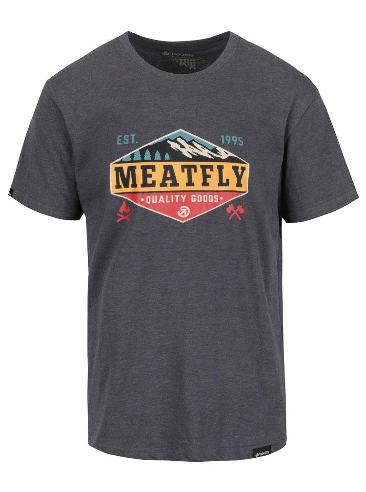 Šedé pánské triko s potiskem MEATFLY Bugler