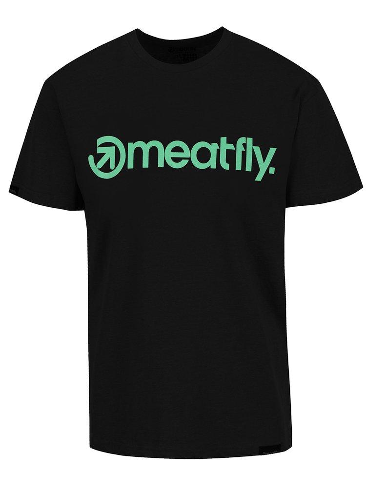 Tricou negru MEATFLY Logo pentru bărbați