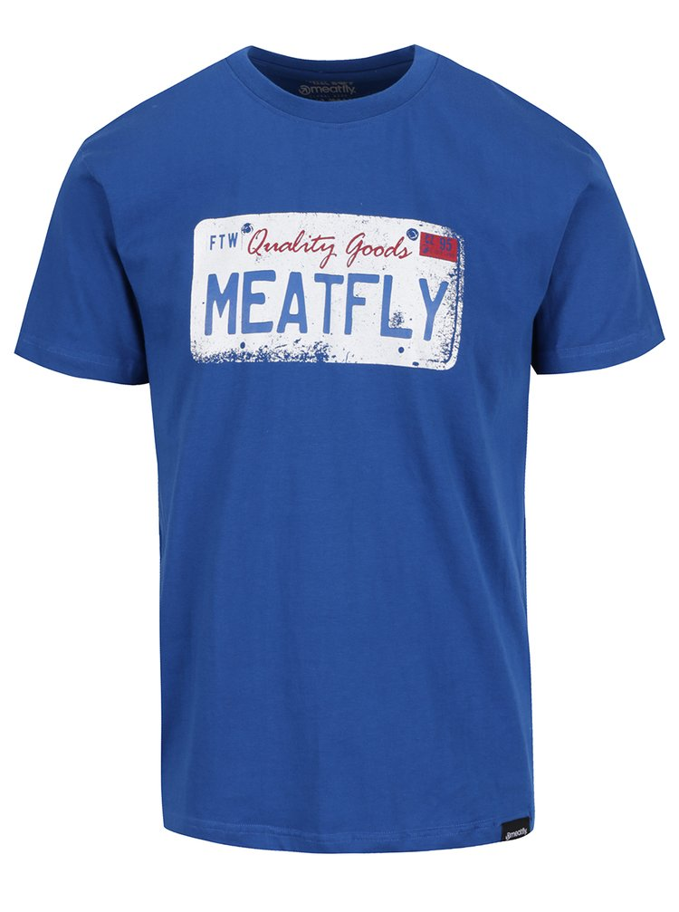 Tricou albastru cu print MEATFLY Carplate pentru bărbați
