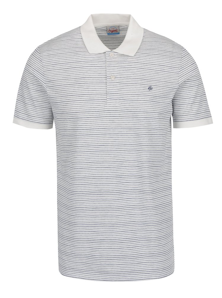 Bílé pruhované polo triko Jack & Jones Firestone