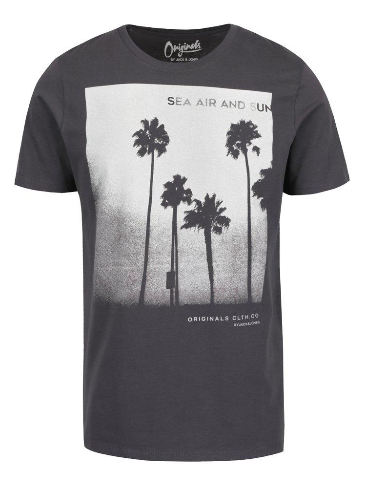Tmavě šedé triko s potiskem Jack & Jones Venice