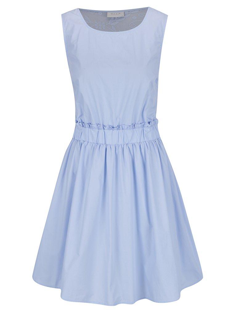 Světle modré šaty s průsvitnými krajkovými zády VILA Nika