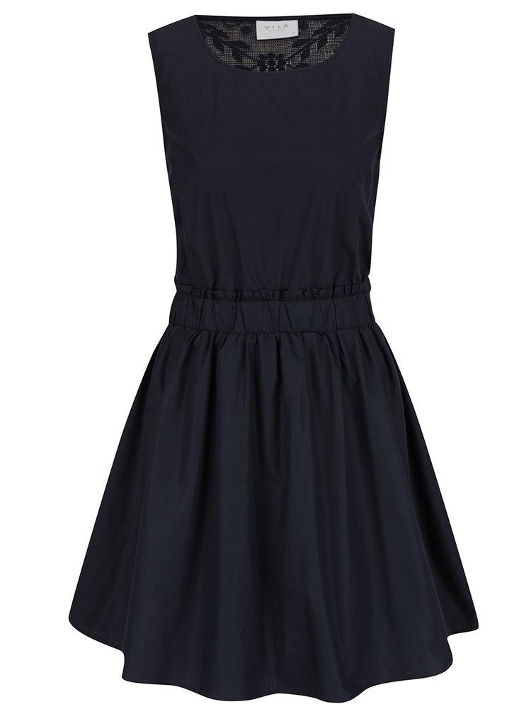 Tmavě modré šaty s průsvitnými krajkovými zády VILA Nika