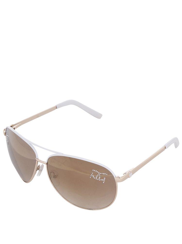 Ochelari de soare albi Gionni cu ștrasuri