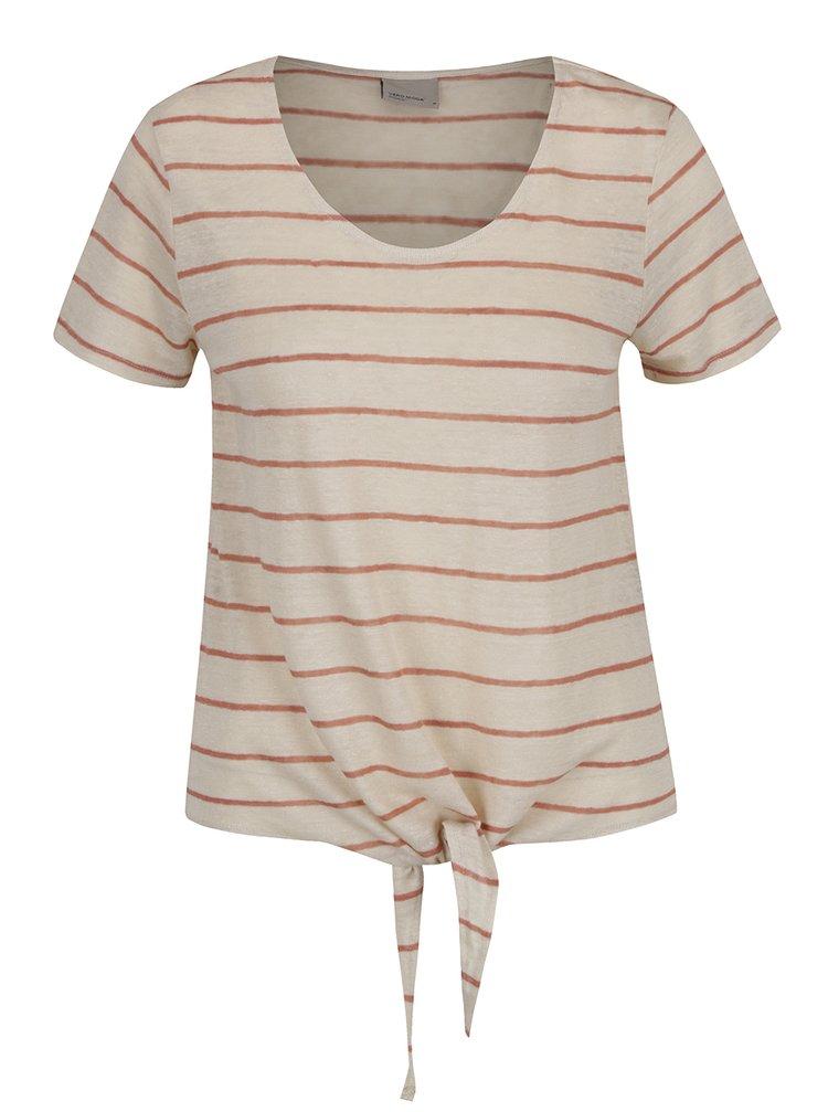 Hnědo-béžové pruhované lněné tričko s uzlem VERO MODA Reza