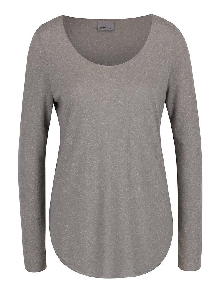 Světle šedé žíhané triko s dlouhým rukávem VERO MODA Lua