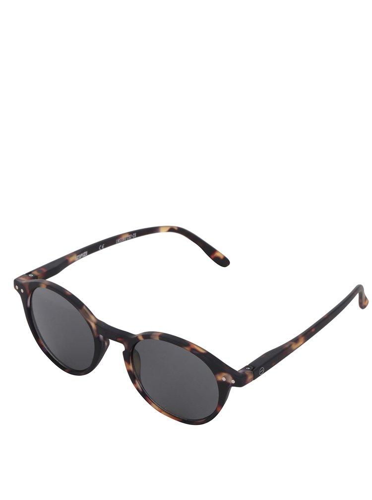 Hnědo-černé vzorované unisex sluneční brýle s černými skly IZIPIZI  #D
