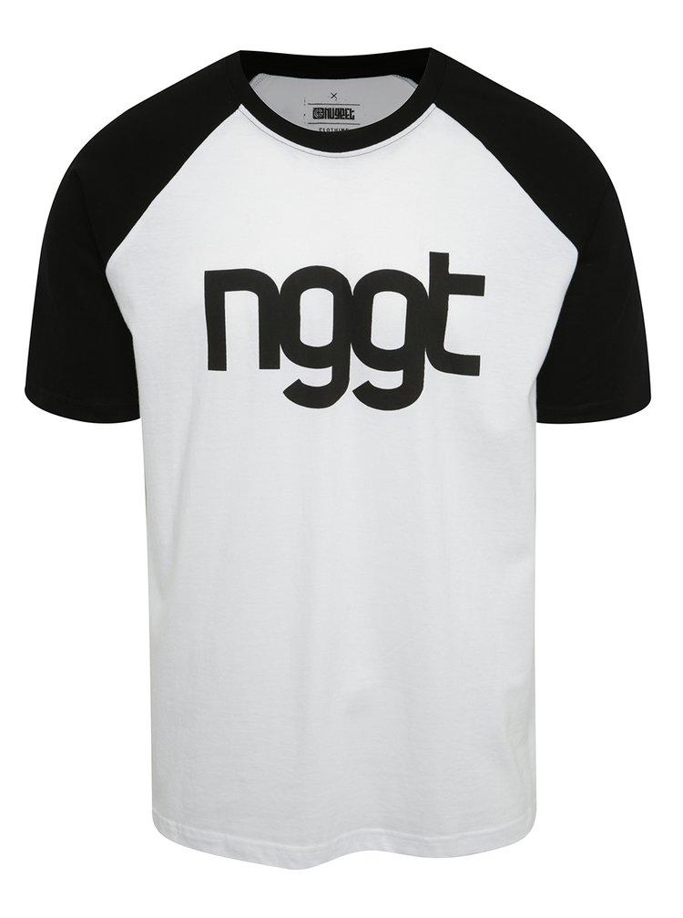 Tricou alb & negru cu print NUGGET Asset pentru bărbați