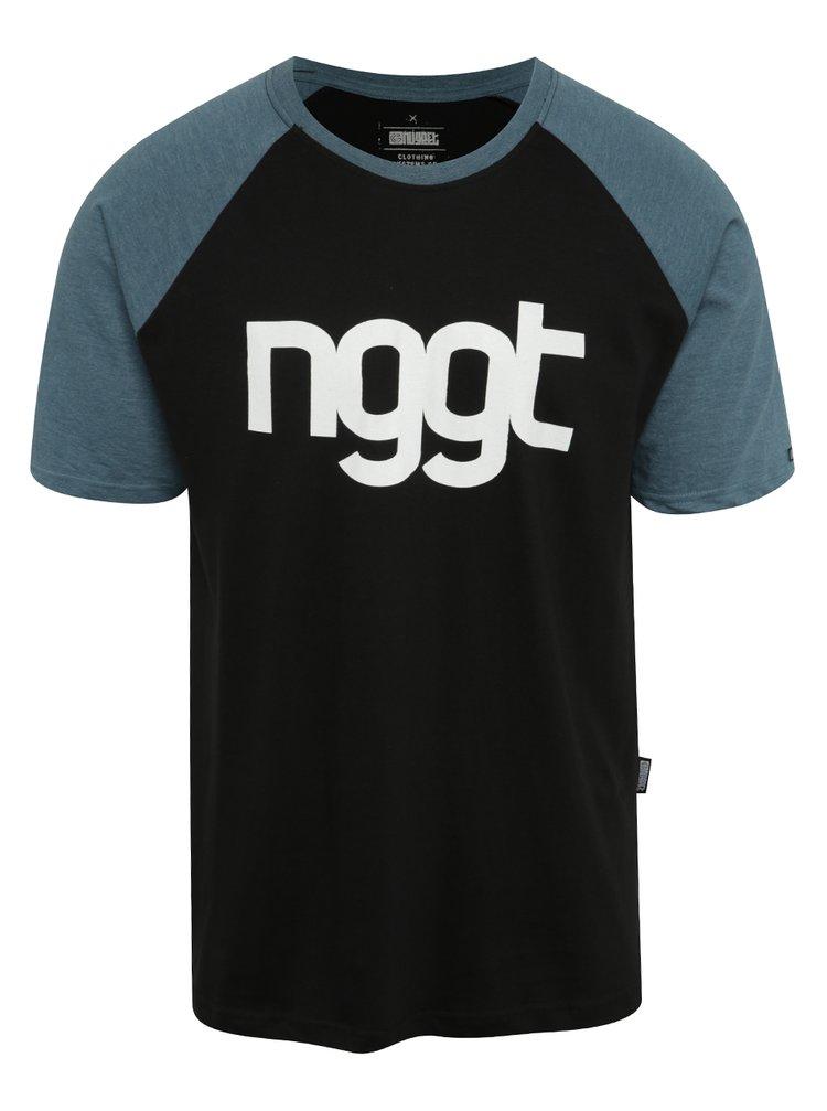 Modro-černé pánské triko s potiskem NUGGET Asset