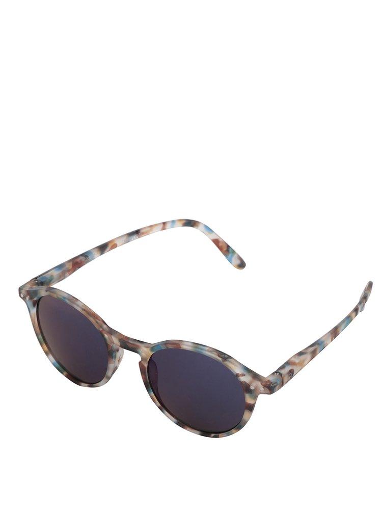 Modro-hnědé vzorované unisex sluneční brýle se zrcadlovými modrými skly IZIPIZI #D