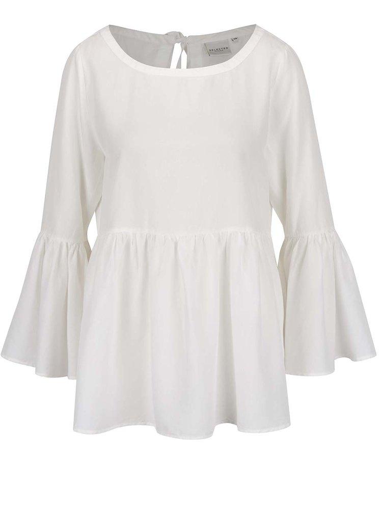 Bluză albă  Selected Femme Kria cu mâneci tip clopot